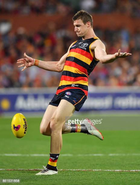 Josh Jenkins of the Crows kicks the ball during the First AFL Preliminary Final match between the Adelaide Crows and the Geelong Cats at Adelaide...