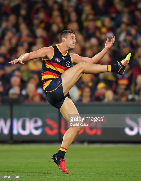 Josh Jenkins of the Crows kicks the ball during the round six AFL match between the Adelaide Crows and Gold Coast Suns at Adelaide Oval on April 28...