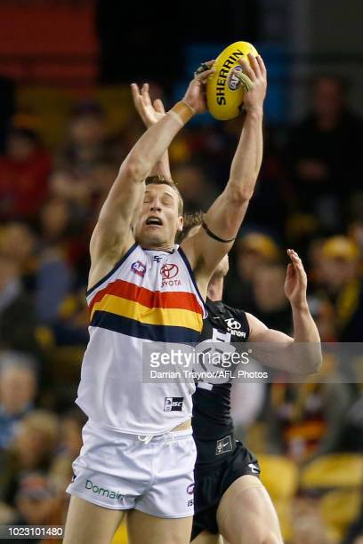 Josh Jenkins of the Crows marks the ball during the round 23 AFL match between the Carlton Blues and the Adelaide Crows at Etihad Stadium on August...