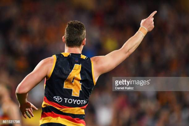 Josh Jenkins of the Crows reacts after kicking a goal during the First AFL Preliminary Final match between the Adelaide Crows and the Geelong Cats at...