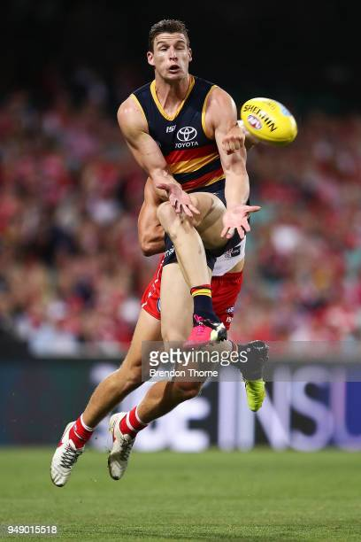 Josh Jenkins of the Crows takes a mark during the round five AFL match between the Sydney Swans and the Adelaide Crows at Sydney Cricket Ground on...