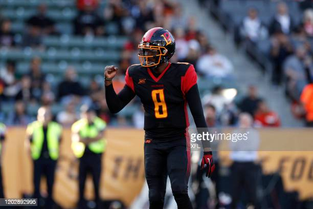 Josh Johnson of the Los Angeles Wildcats reacts to a play during the XFL game against the DC Defenders at Dignity Health Sports Park on February 23,...