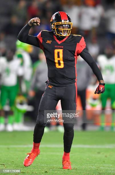 Josh Johnson of the LA Wildcats celebrates a touchdown in the first quarter against the Tampa Bay Vipers during an XFL game at Dignity Health Sports...