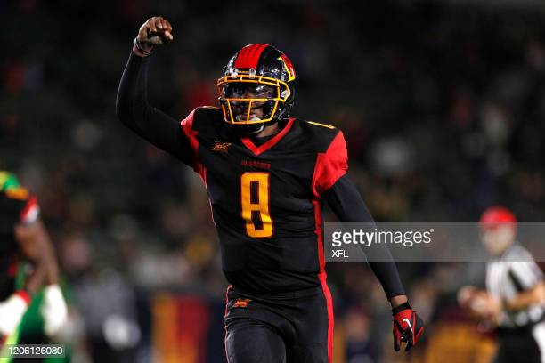 Josh Johnson of the LA Wildcats celebrates after a touchdown during the XFL game against the Tampa Bay Vipers at Dignity Health Sports Park on March...