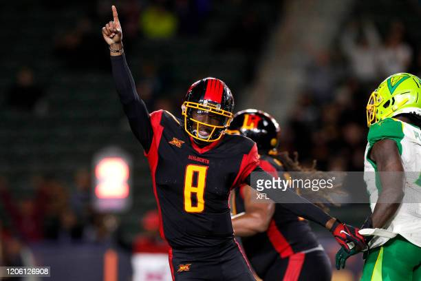 Josh Johnson of the LA Wildcats celebrates during the XFL game against the Tampa Bay Vipers at Dignity Health Sports Park on March 8, 2020 in Carson,...