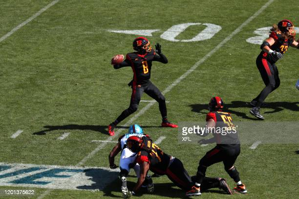 Josh Johnson of the LA Wildcats passes the ball against the Dallas Renegades at Dignity Health Sports Park on February 16, 2020 in Carson, California.