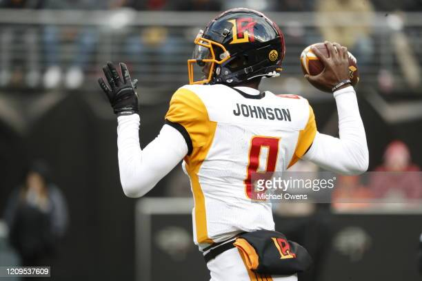 Josh Johnson of the LA Wildcats reacts during the second half of their XFL game against the NY Guardians at MetLife Stadium on February 29, 2020 in...