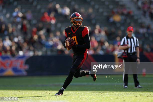 Josh Johnson of the LA Wildcats scrambles during the XFL game against the DC Defenders at Dignity Health Sports Park on February 23, 2020 in Carson,...
