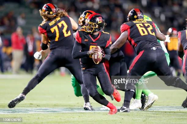 Josh Johnson of the LA Wildcats scrambles during the XFL game against the Tampa Bay Vipers at Dignity Health Sports Park on March 8, 2020 in Carson,...