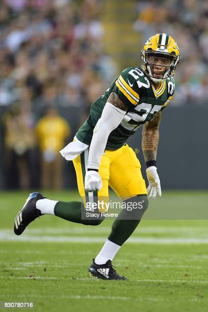 Josh Jones of the Green Bay Packers anticipates a play during a preseason game against the Philadelphia Eagles at Lambeau Field on August 10 2017 in...