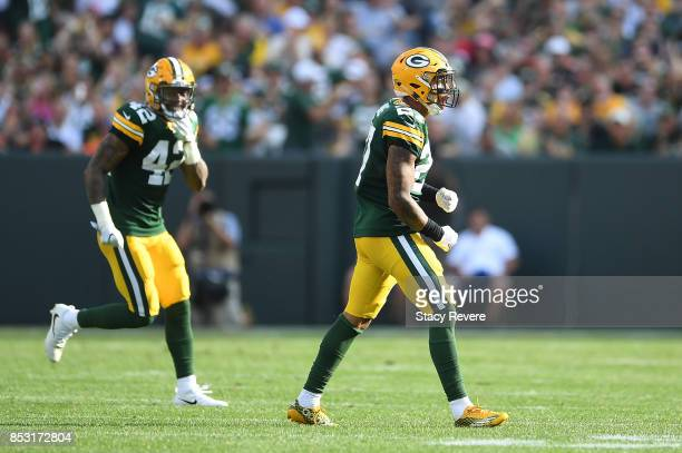 Josh Jones of the Green Bay Packers reacts after a sack during the first quarter against the Cincinnati Bengals at Lambeau Field on September 24 2017...