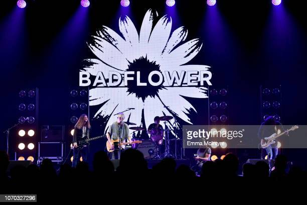 Josh Katz Anthony Sonetti and Alex Espiritu of the band Badflower perform on stage during the KROQ Absolut Almost Acoustic Christmas at The Forum on...