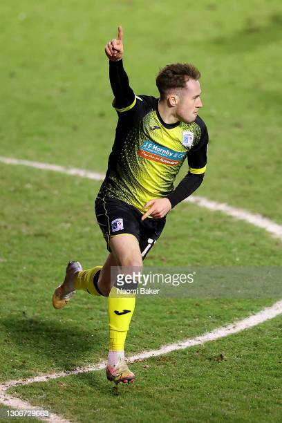 Josh Kay of Barrow AFC celebrates after scoring his team's first goal during the Sky Bet League Two match between Walsall and Barrow at Banks's...