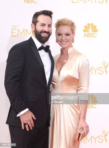 Josh Kelley and Katherine Heigl arrive to the 66th Annual Primetime Emmy Awards at Nokia Theatre LA Live on August 25 2014 in Los Angeles California