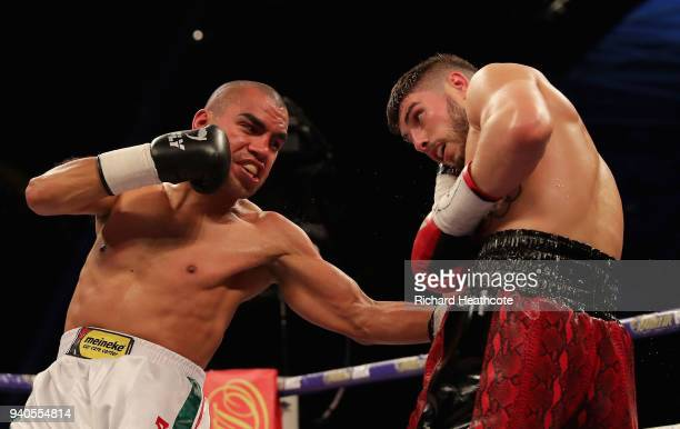 Josh Kelly and Carlos Molina exchange punches during there WBA International Welterweight Championship fight at Principality Stadium on March 31,...