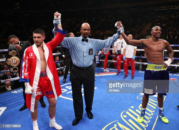 Josh Kelly and Ray Robinson react after their bout was called a majority draw after their welterweight fight at Madison Square Garden on June 01,...