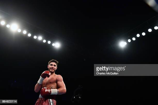 Josh Kelly of England celebrates after defeating Jose Luis Zuniga of Mexico during their Welterweight contest on the Burnett versus Zhakiyanov boxing...