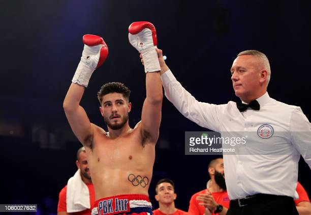 Josh Kelly of England celebrates victory over Walter Fabian Castillo of Argentina after the Welterweight Contest between Josh Kelly and Walter Fabian...