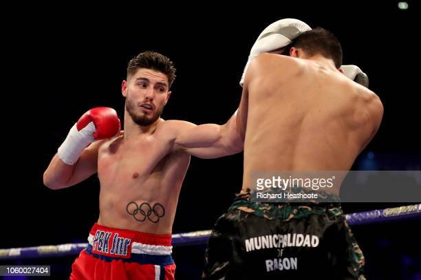 Josh Kelly of England punches Walter Fabian Castillo of Argentina during the Welterweight Contest between Josh Kelly and Walter Fabian Castillo at...
