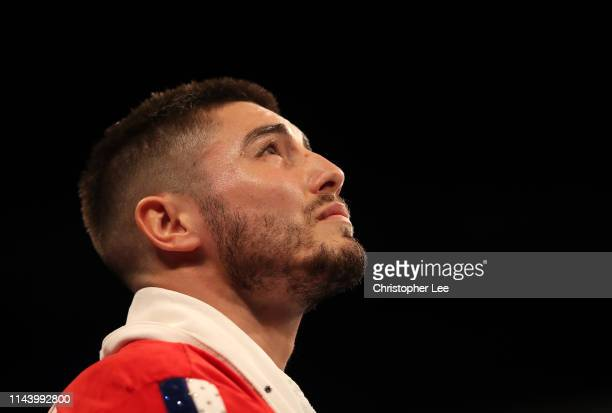 Josh Kelly of Great Britain looks on during Boxing at The O2 Arena on April 20, 2019 in London, England.