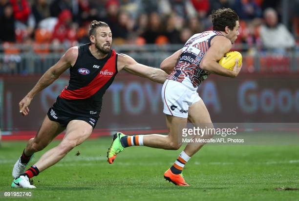 Josh Kelly of the Giants in action during the round 11 AFL match between the Greater Western Sydney Giants and the Essendon Bombers at Spotless...