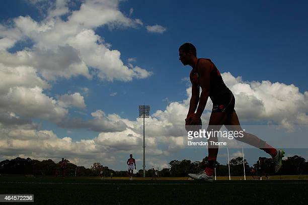 Josh Kelly of the Giants kicks for goal during the Greater Western Sydney Giants AFL intraclub at Blacktown International Sportspark on February 27...