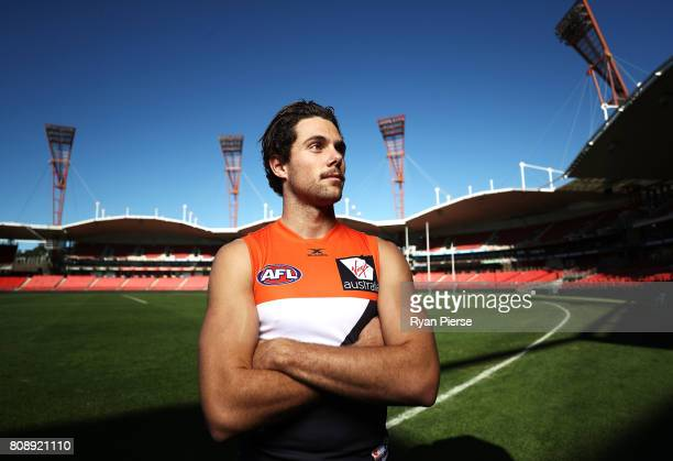Josh Kelly of the Giants poses during a Greater Western Sydney Giants AFL portrait session at Spotless Stadium on July 5 2017 in Sydney Australia