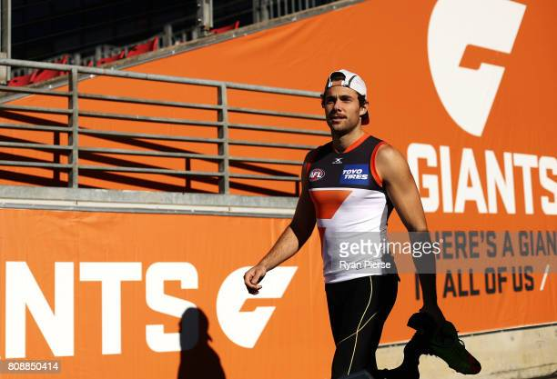 Josh Kelly of the Giants prepares to train during a Greater Western Sydney Giants AFL training session at Spotless Stadium on July 5 2017 in Sydney...