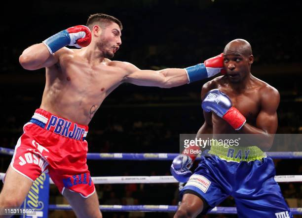 Josh Kelly punches Ray Robinson during their welterweight fight at Madison Square Garden on June 01, 2019 in New York City.
