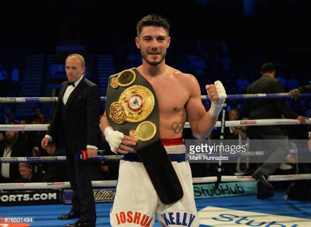 Josh Kelly reacts after beating Kris George during the Commonwealth Welterweight Championship contest presented by Matchroom Boxing at Metro Radio...