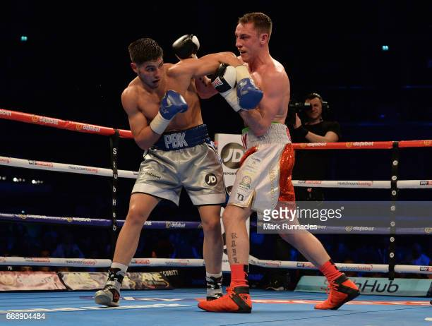 Josh Kelly , takes on Jay Byrne , during a Welterweight undercard bout ahead of the WBA/IBF Super-Lightweight unification bout between Ricky Burns of...