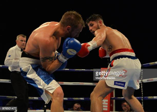 Josh Kelly , takes on Kris George , during the Commonwealth Welterweight Championship contest presented by Matchroom Boxing at Metro Radio Arena on...