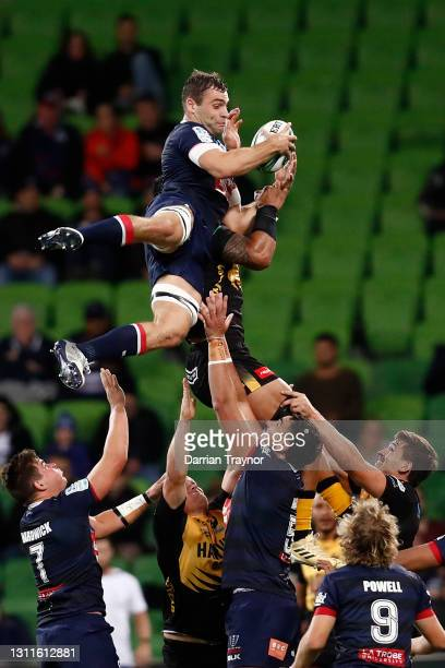 Josh Kemeny of the Rebels catches the ball from a line out during the round eight Super RugbyAU match between the Melbourne Rebels and the Western...