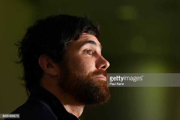 Josh Kennedy addresses the media before a West Coast Eagles AFL training session at Domain Stadium on September 11 2017 in Perth Australia