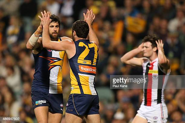 Josh Kennedy and Jack Darling of the Eagles celebrate a goal during the round 23 AFL match between the West Coast Eagles and the St Kilda Saints at...