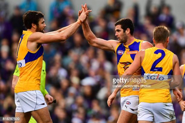 Josh Kennedy and Jack Darling of the Eagles celebrates a goal during the 2017 AFL round 17 match between the Fremantle Dockers and the West Coast...