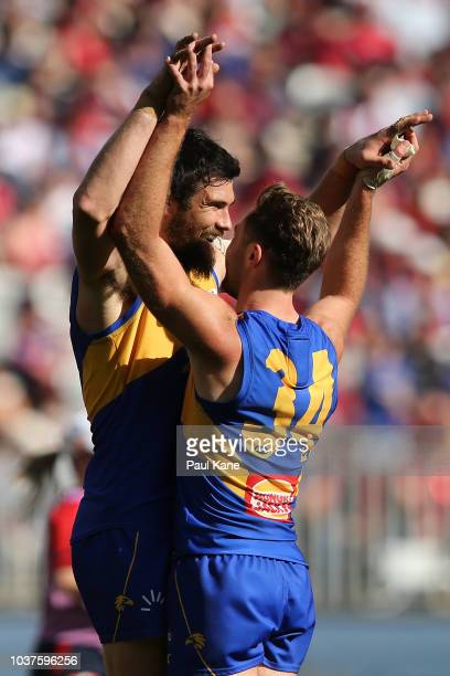 Josh Kennedy and Mark Hutchings of the Eagles celebrate a goal during the AFL Preliminary Final match between the West Coast Eagles and the Melbourne...
