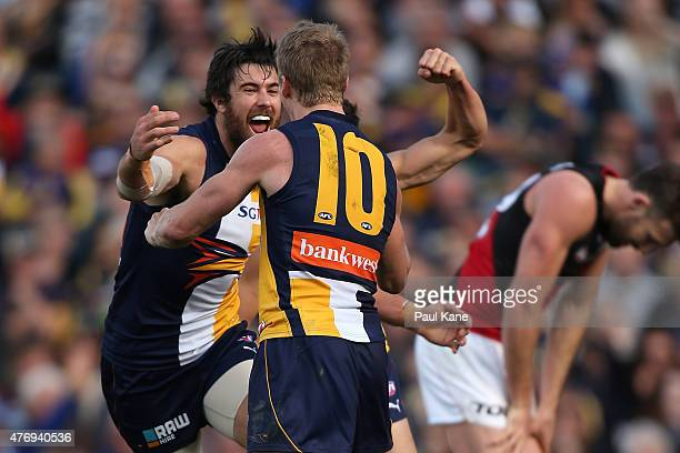 Josh Kennedy and Scott Selwood of the Eagles celebrate a goal during the round 11 AFL match between the West Coast Eagles and the Essendon Bombers at...