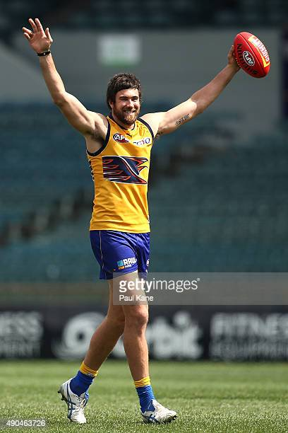 Josh Kennedy celebrates after a kicking drill during a West Coast Eagles AFL training session at Domain Stadium on September 29 2015 in Perth...
