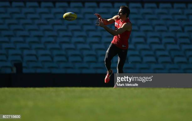 Josh Kennedy in action during a Sydney Swans AFL training session at Sydney Cricket Ground on July 26 2017 in Sydney Australia