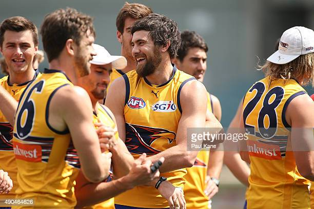Josh Kennedy looks on during a West Coast Eagles AFL training session at Domain Stadium on September 29 2015 in Perth Australia