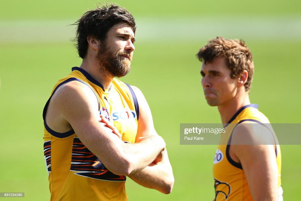 Josh Kennedy looks on during a West Coast Eagles AFL training session at Domain Stadium on August 14, 2017 in Perth, Australia.