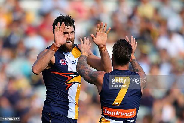 Josh Kennedy of the Eagles and Chris Masten of the Eagles celebrates a goal during the round eight AFL match between the West Coast Eagles and the...
