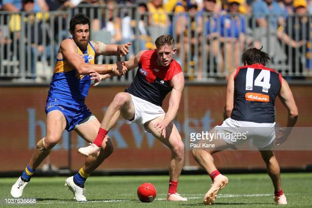 Josh Kennedy of the Eagles and Sam Frost of the Demons contest for the ball during the AFL Prelimary Final match between the West Coast Eagles and...