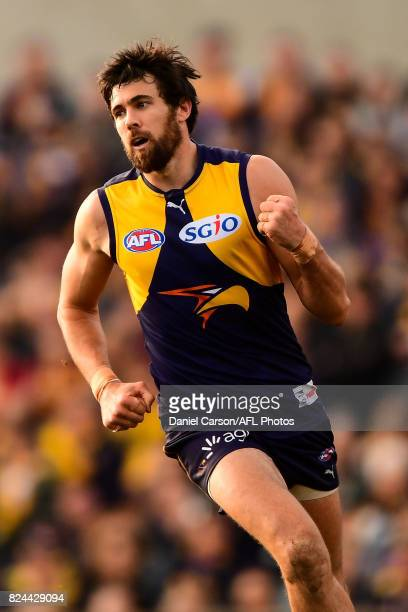 Josh Kennedy of the Eagles celebrates a goal during the 2017 AFL round 19 match between the West Coast Eagles and the Brisbane Lions at Domain...