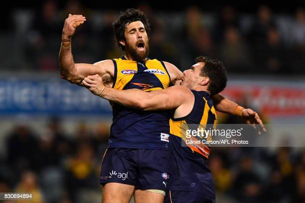 Josh Kennedy of the Eagles celebrates a goal during the 2017 AFL round 21 match between the West Coast Eagles and the Carlton Blues at Domain Stadium...