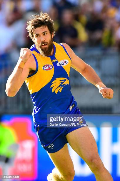 Josh Kennedy of the Eagles celebrates a goal during the 2018 AFL round nine match between the West Coast Eagles and the Richmond Tigers at Optus...