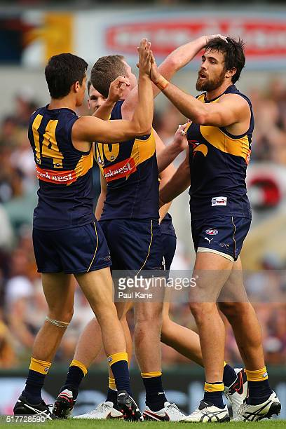 Josh Kennedy of the Eagles celebrates a goal during the AFL round one match between the West Coast Eagles and the Brisbane Lions at Domain Stadium on...
