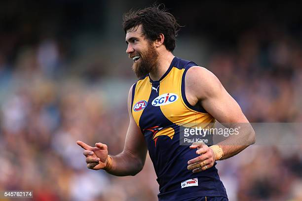Josh Kennedy of the Eagles celebrates a goal during the round 16 AFL match between the West Coast Eagles and the North Melbourne Kangaroos at Domain...