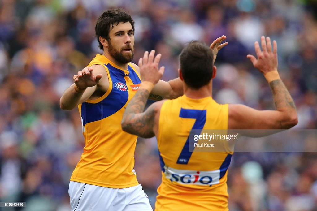Josh Kennedy of the Eagles celebrates a goal during the round 17 AFL match between the Fremantle Dockers and the West Coast Eagles at Domain Stadium on July 16, 2017 in Perth, Australia.